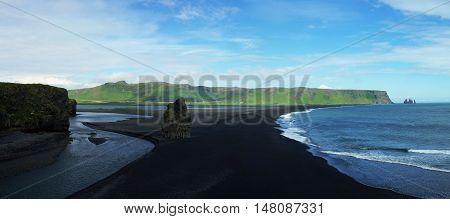 Dyrholaey cape black sand beach South Iceland