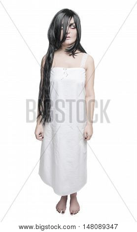 Mystical Ghost Woman In White Long Shirt