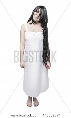 Mystical Ghost Crazy Woman In White Long Shirt