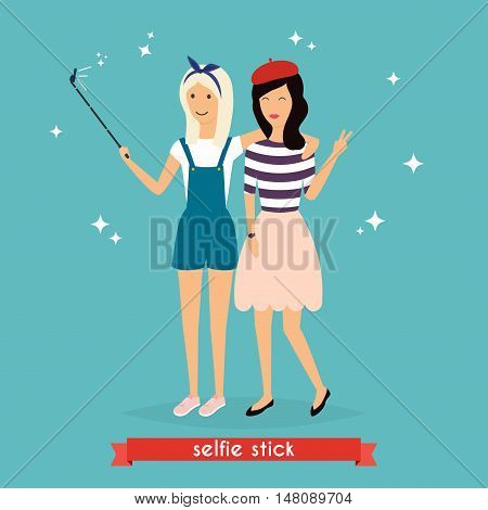 Two hipster girlfriends taking a selfie with stick. Concept of friendship and fun with new trends and technology. Vector illustration.