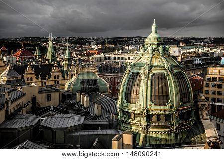 Prague rooftops and Obecni Dum (Municipal House) view from Poder Tower. Czech Republic.