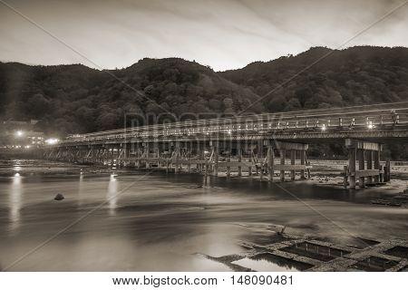 Arashiyama Bridge With Light Trail