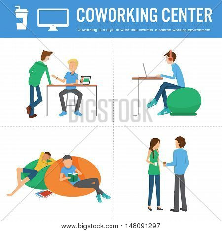 vector illustration of people working meeting reading at co-working centerrelaxed environmenthappy workingisolated on white background