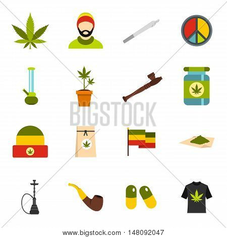 Rastafarian icons set in flat style. Marijuana smoking equipment set collection vector illustration