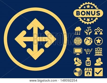Direction Variants icon with bonus elements. Vector illustration style is flat iconic symbols yellow color blue background.