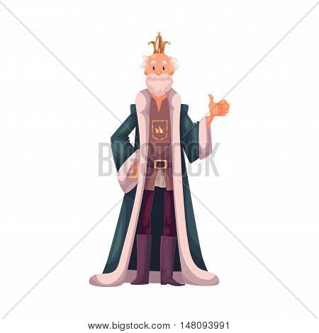 king wearing crowns and mantles, cartoon vector illustration isolated in white background. king tall old white skinned, kind and happy