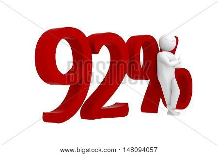 3D Human Leans Against A Red 92%