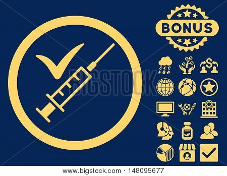Done Vaccination icon with bonus symbols. Vector illustration style is flat iconic symbols yellow color blue background.