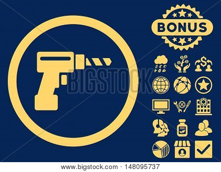 Drill icon with bonus pictures. Vector illustration style is flat iconic symbols yellow color blue background.