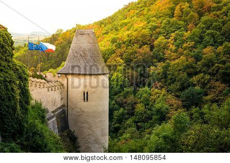 Side tower of Karlstejn Castle. Central Bohemia Karlstejn village Czech Republic.