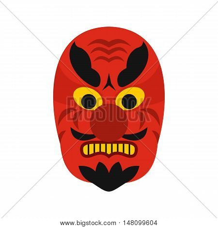 Hannya mask icon in flat style on a white background vector illustration