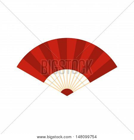 Red japanese fan icon in flat style on a white background vector illustration