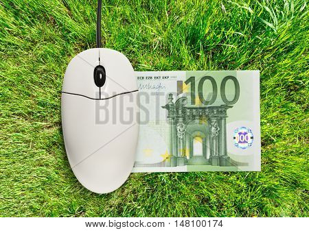Computer Mouse And One Hundred Euro Banknote