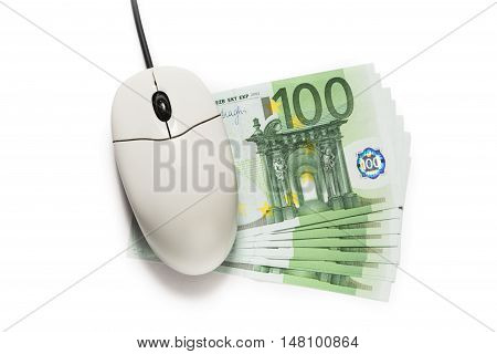 Computer Mouse And One Hundred Euro Banknotes