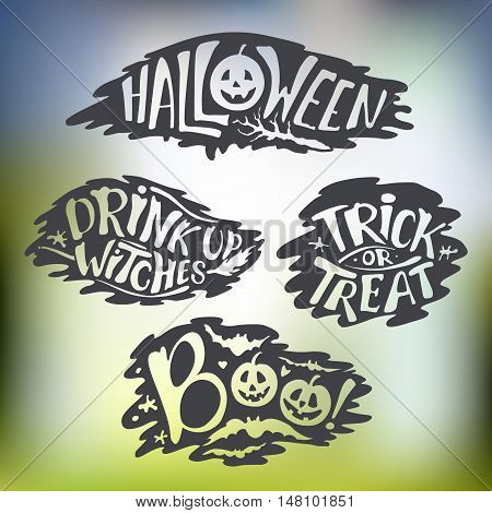 Happy Halloween Calligraphy backgrounds. Vector Halloween banner signs. Halloween lettering holiday hignt. Bat silhouette horror text. moonlight tree. Trick or Treat boo witches
