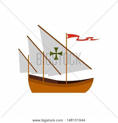 Columbus ship icon in flat style on a white background vector illustration