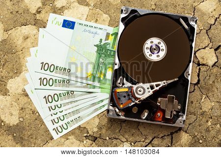 One Hundred Euro Banknotes And Hardisk
