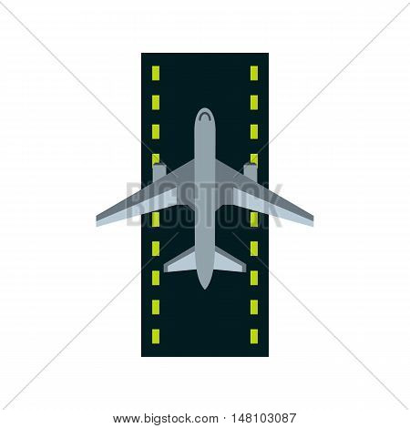 Airstrip with airplane icon in flat style on a white background vector illustration