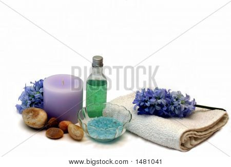 Hyacinth Candle Bath Salts And Shower Gel In Blues Purples And Greens
