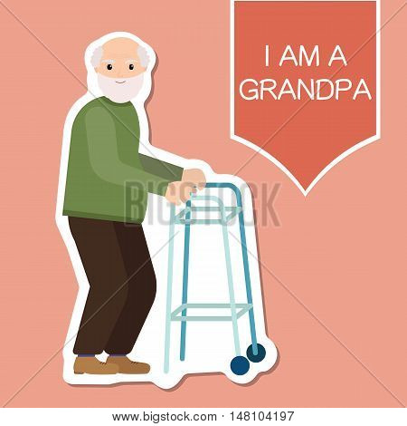 Grandpa standing full length with paddle walker smiling. Retired elderly senior age couple in creative flat vector illustration character design.