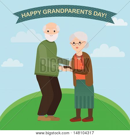 Happy grandparents in vector cartoon illustration. Grandparents greeting card. Grandpa and grandma on the background of green field and sky.