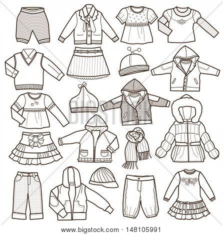 set of fashion children's clothes isolated on white background  (vector illustration, coloring book)