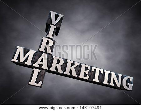 Viral marketing letterpress typesetting on dark background , 3d illustration