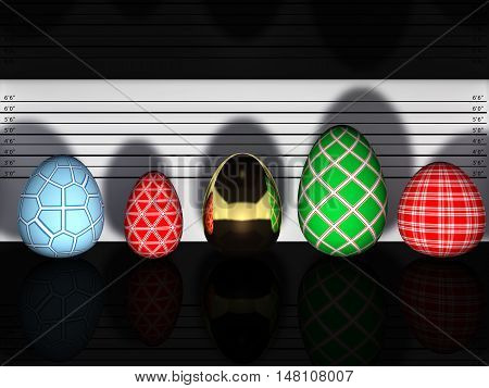 Multicolored easter eggs in a police lineup , Easter , 3d illustration