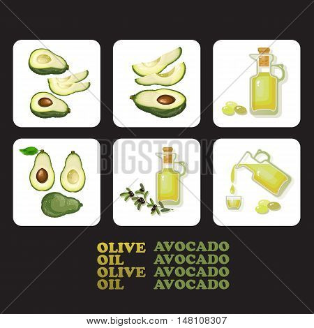 Vector illustration with avocado and slices, glass jar full of olive oil and branch isolated.  Flat style healthy food.  Set of avocado and olive icons. Natural delicious healthy nutrition olive oil and avocado. Glass bottle of premium virgin olive oil an