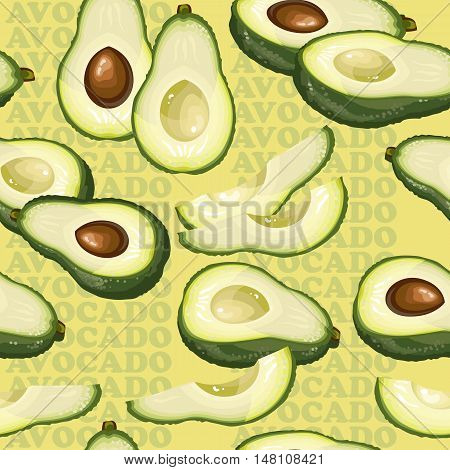 Seamless texture with avocado and slices on yellow background. Vector illustration.  Floral texture with natural elements and words Avocado.