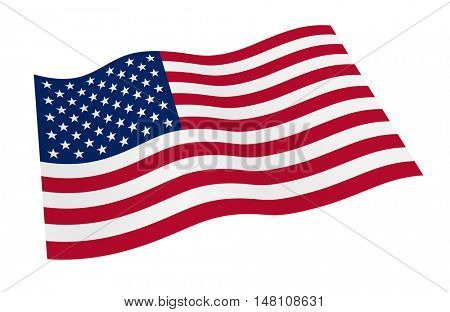 United States flag isolated on white background from world flags set. 3D illustration.