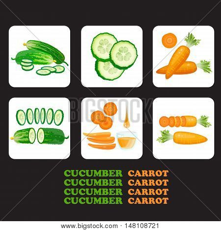 Vector illustration with cucumber, carrot  and slices isolated.  Flat style healthy food.  Set of cucumbers and carrots icons.