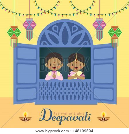 Diwali / Deepavali vector illustration. Cute indian boy and girl with window frame, india lanterns, diya (india oil lamp) and colorful light bulbs. Festival of Lights celebration.