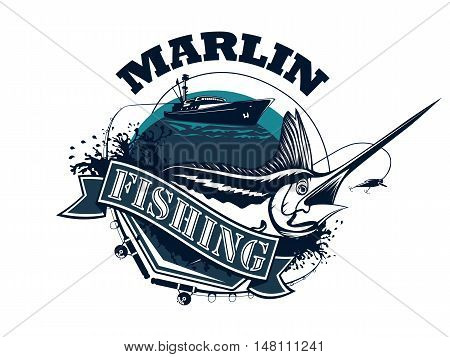 Black Marlin Fishing Diagonal