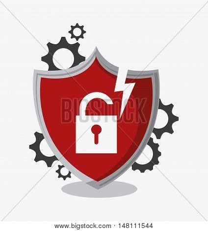 Shield gears and padlock icon. Data protection cyber security system and media theme. Colorful design. Vector illustration