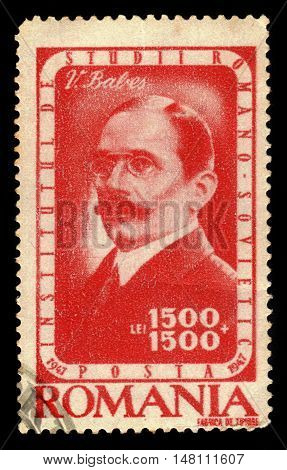 ROMANIA - CIRCA 1947: A stamp printed in Romania shows portrait of Victor Babes, romanian physician, bacteriologist, academician and professor, series, circa 1947
