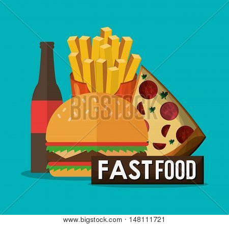 Pizza hamburger coke and fries icon. fast food menu american and restaurant theme. Colorful design. Vector illustration