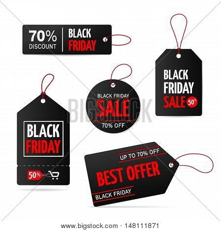Set of tags for black friday sale banners. Vector label for promotion. Isolated from a background.