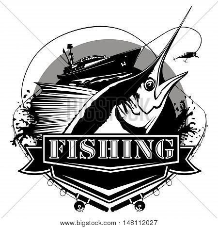 Marlin Big Fishing Logo Black