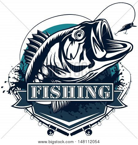 Perch Fish Deailed Logo Blue White