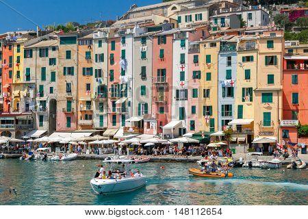Santa Margherita Ligure. Italy - July 24, 2016: Medieval colorful houses in Portovenere. Famous popular resort. Liguria. Cinque Terre. Italy