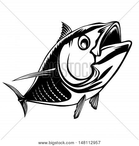 Tuna Big Fishing On White