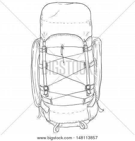 Vector Single Sketch Hiking Backpack.