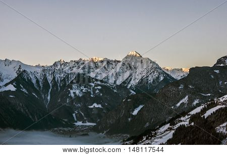 Sunrise at a Mountain Panorama view Zillertal Austria 2