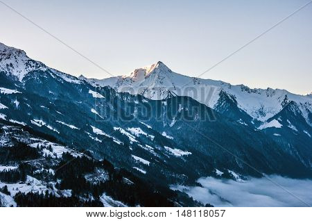 Sunrise at a Mountain Panorama view Zillertal Austria 3