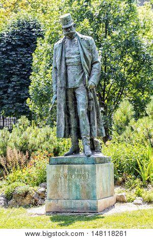 VIENNA AUSTRIA - JUNE 24 2016:  Palace garden (Burggarten). Monument to Emperor Franz Joseph I. Vienna. Austria