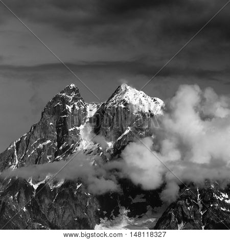 Black And White View On Mt. Ushba In Clouds