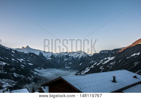 Sunrise at a Mountain Panorama view Zillertal Austria 8