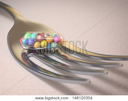 3D illustration. Multivitamin tablet upon a fork. Clipping path on the pill.