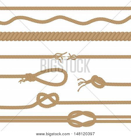 Set of realistic vector brown ropes and knots brushes isolated